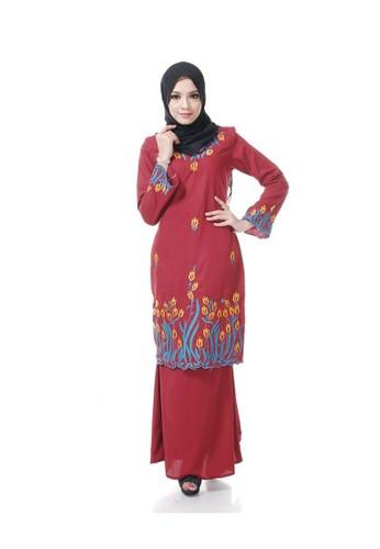 Salina Red Baju Kurung Moden from Maribeli Butik in Red and orange and Blue
