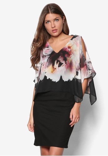 花卉層疊洋裝, 服飾zalora 包包評價, 洋裝