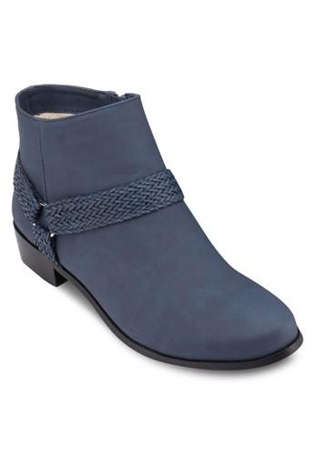 編織帶拼接踝靴, 女鞋zalora鞋, 鞋