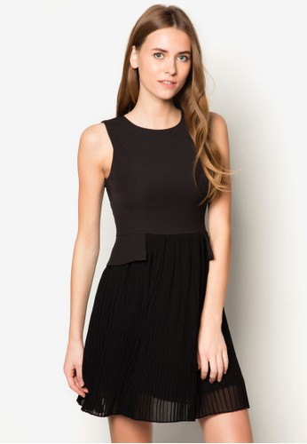褶藝無袖zalora 包包評價連身裙, 服飾, 洋裝