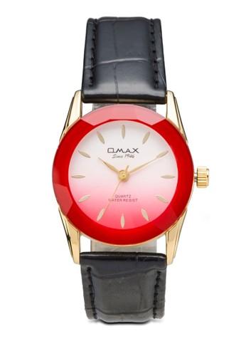 OMAX 8E0031G 彩色圓zalora 台灣門市框皮革錶, 錶類, 飾品配件