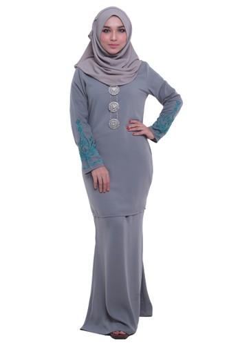 Zahra Baju Kurung from Tulips & Thyme in Grey