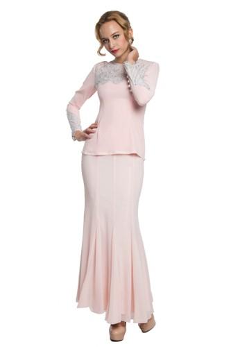 Paradise Kurung Modern from Rina Nichie in Pink