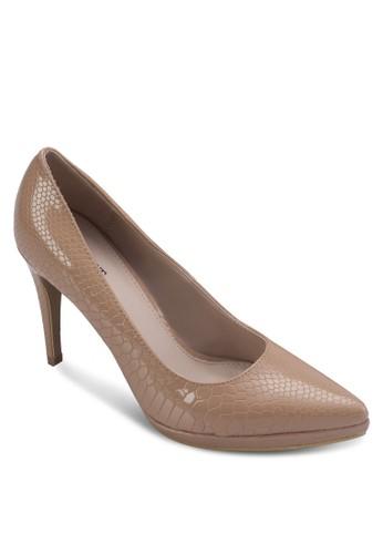 亮面動物紋zalora 心得高跟鞋, 女鞋, 鞋