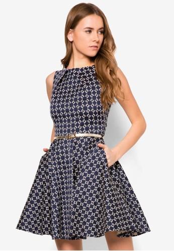 蜂窩印zalora鞋花腰帶洋裝, 服飾, 服飾
