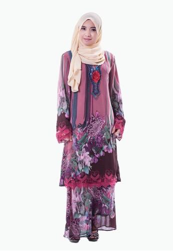 Rasa Sayang Flora Print EmbroideRed Chiffon Baju Kurung (Purple) from Rasa Sayang in Purple