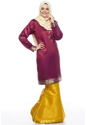 Ileana Kurung Saree from Farha by JZ in Yellow and Purple