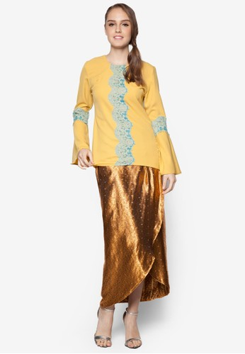 Cattleya Modern Lace Kurung from ARDA PUTRA in Yellow