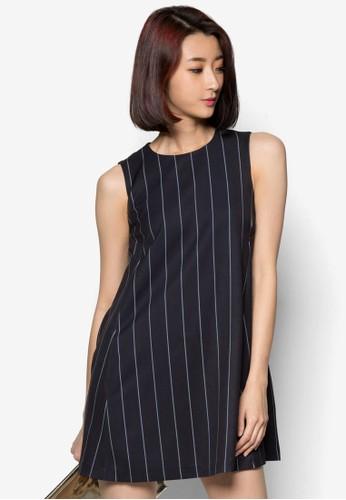 直條紋寬擺連身裙, zalora鞋服飾, 洋裝