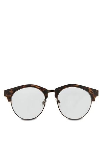 玳瑁半框平光眼鏡, zalora開箱飾品配件, 飾品配件