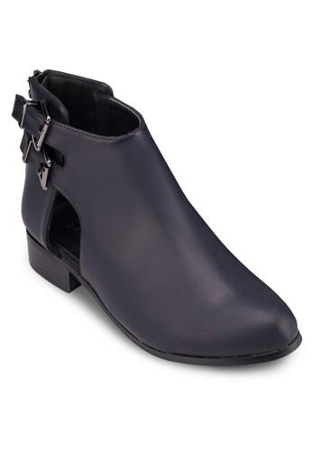 雙扣環鏤空仿皮zalora 手錶踝靴, 女鞋, 鞋