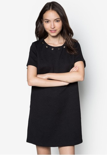 穿孔暗紋直筒洋裝, zalora taiwan 時尚購物網鞋子服飾, 服飾