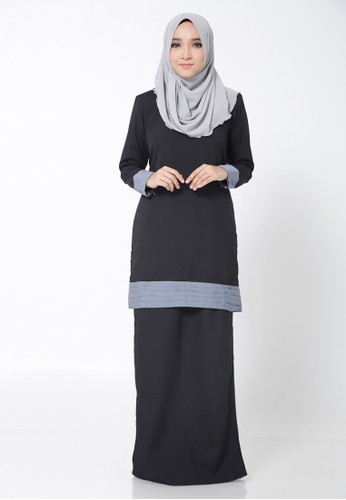 Hana Kurung Modern from Arisha in Black and Grey