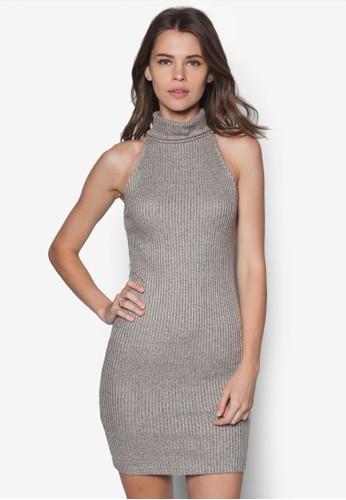 高領羅紋貼身連身裙,zalora時尚購物網評價 服飾, 洋裝