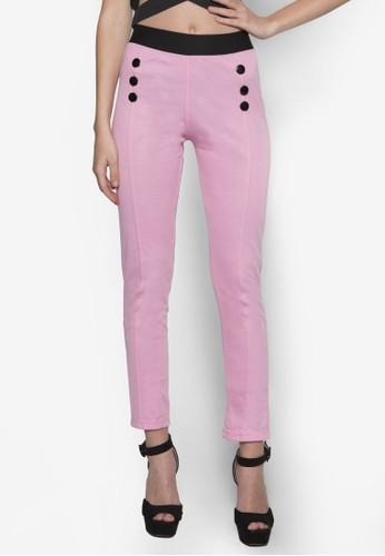 鈕飾高腰緊身長褲,zalora 評價 服飾, 長褲及內搭褲
