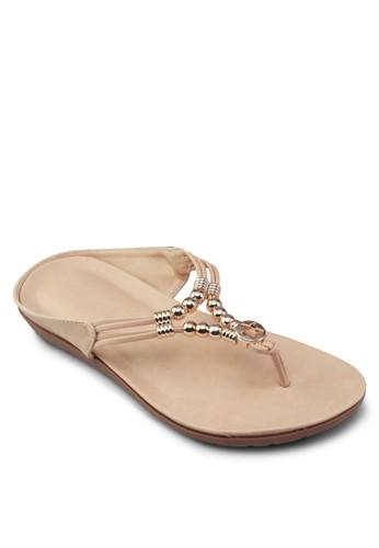金飾夾腳涼鞋, 女zalora開箱鞋, 懶人鞋