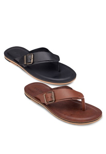 二入組扣環皮革夾腳拖zalora 台灣鞋, 鞋, 拖鞋