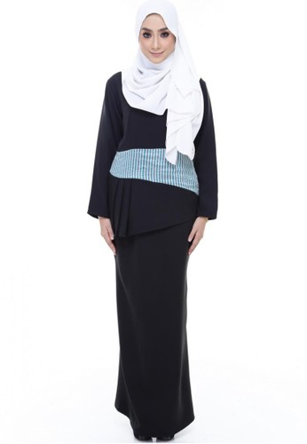 Grace Peplum Kurung from Farha by JZ in Black