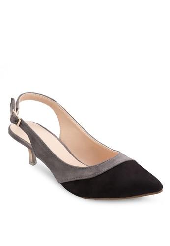 雙色繞踝低跟zalora鞋子評價鞋, 女鞋, 厚底高跟鞋
