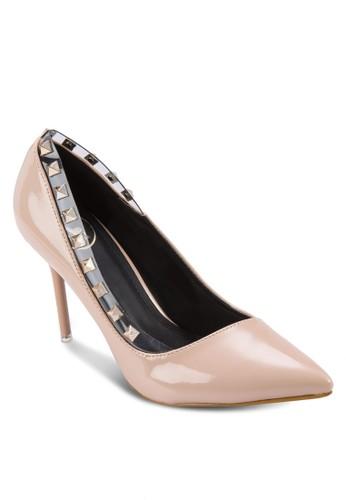 鉚釘尖頭高跟鞋,zalora 台灣 女鞋, 鞋