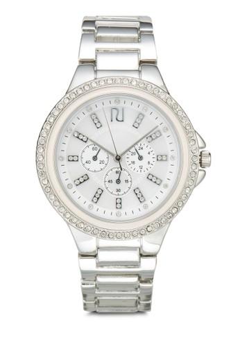閃鑽圓框金zalora 包包 ptt屬鍊錶, 錶類, 不銹鋼錶帶