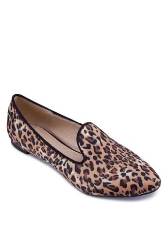 zalora 折扣碼豹紋樂福鞋, 女鞋, 平底鞋