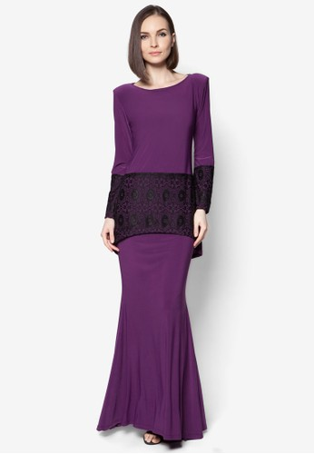 Mullet Lace Midi Kurung from Zuco Fashion in Purple
