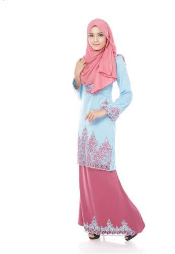 Maribeli Butik Jasmine Kurung – Blue (sky Blue Boysenberry) from Maribeli Butik in Pink and Blue