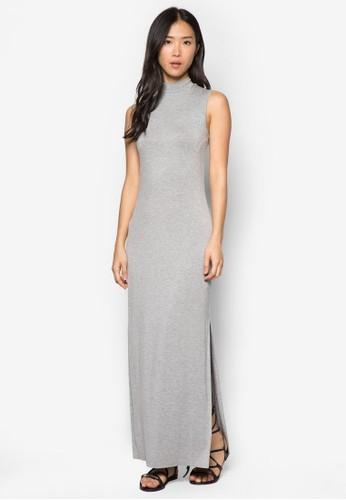 側開衩高領連身長裙, 服飾, 夏日zalora 評價洋裝