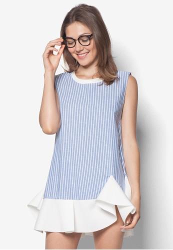 條紋荷葉zalora 評價擺連身裙, 服飾, 夏日洋裝