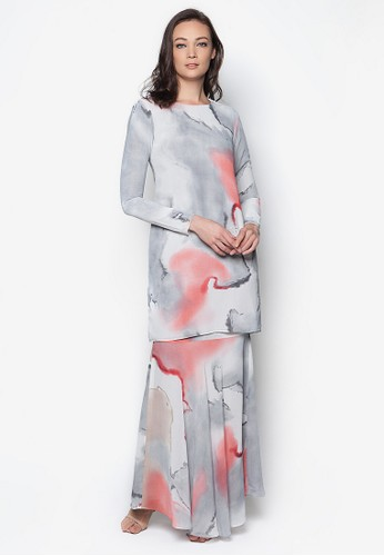 Jasmine Kurung Modern from Izzabell Couture in Grey and Multi