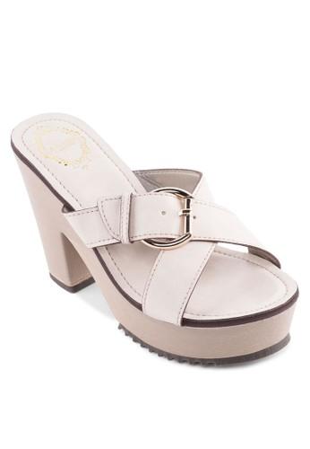 扣環交叉帶粗跟涼鞋, 女鞋, zalora退貨厚底鞋