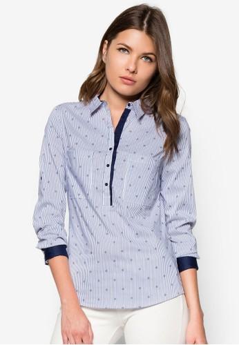 條紋棉zalora 台灣質長袖襯衫, 服飾, 上衣