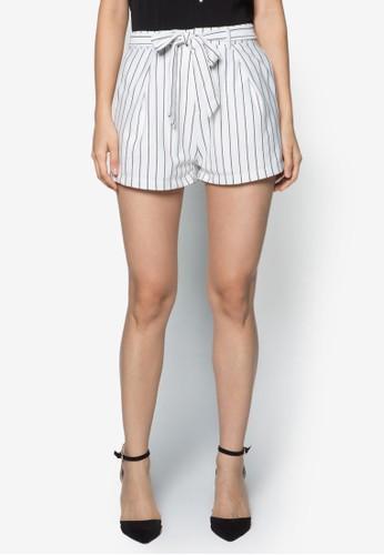 繫帶條紋短褲, 服飾, 短zalora鞋子評價褲