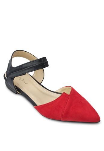 色塊側空繞踝平底鞋, 女鞋, zalora 鞋評價鞋