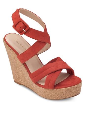 交叉帶木製楔形涼鞋, 女鞋zalora鞋, 楔形涼鞋