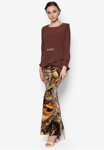 Kebaya Peplum Midi Kurung from Zuco Fashion in Brown