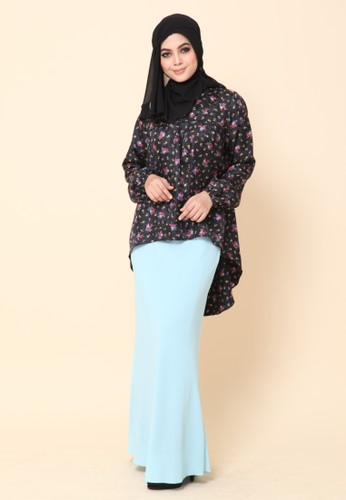 Mini Kurung Fishtail Floral Black from Dirs in Black