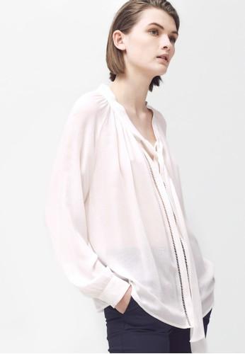 梯形鏤空繫帶mango 服飾長袖上衣, 服飾, 上衣
