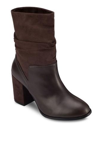 牛皮粗跟短zalora 心得靴, 女鞋, 靴子