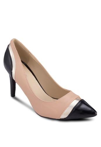 Rina 撞色拼接尖頭zalora退貨高跟鞋, 女鞋, 厚底高跟鞋