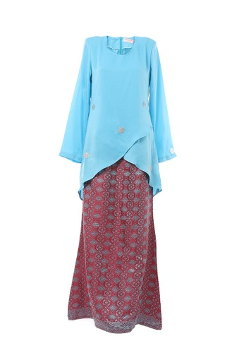 Women's Kurung Moden Dokoh Patch Light Blue from MOTHER & CHILD in Blue