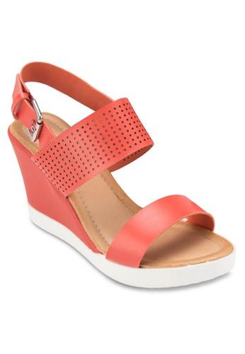 繞踝厚底楔型涼鞋, 女鞋,zalora 手錶 鞋