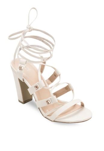 Zelia 鉚釘羅馬粗跟涼zalora鞋子評價鞋, 女鞋, 鞋