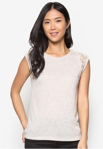 Oat Textured Lzalora退貨ace Shoulder Tee, 服飾, T恤