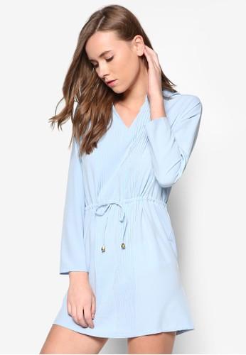 褶藝束腰長袖連身裙, zalora 包包評價服飾, 洋裝