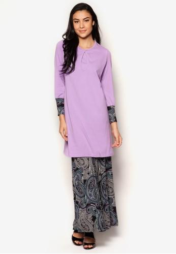 Flare Panel Abstract Baju Kurung from Aqeela Muslimah Wear in Purple