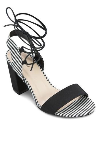 繞踝繫帶粗跟涼鞋, 女鞋, 中zalora鞋子評價跟