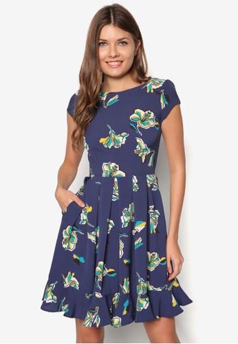 V zalora 鞋評價字背花卉傘擺洋裝, 服飾, 洋裝