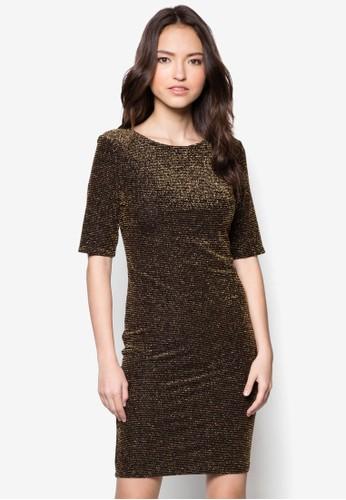 Pzalora鞋etite 黑金連身裙, 服飾, 洋裝